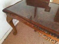 Coffee Table - Wood & Glass Vintage - Looks hand carved?