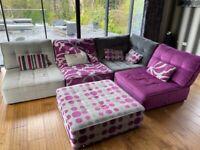 Corner sofa grey/pink modern modular