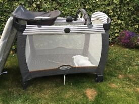 Graco Contour Electra Travel Cot grey/white - used but still good condition