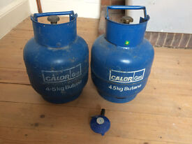 2 off 4.5kg Calor Gas Bottles and Regulator, 1 full other partially, see photos