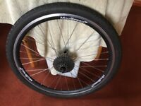 "26"" Wheels 1 rear 7 speed cassette, 1 front with Tyres"