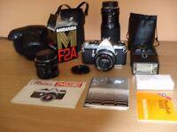Vintage Pentax ME SLR Camera Many extras inc. Hoya Macro/Zoom Lens Chinon Zoom Lens Flash Guns etc.