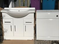White bathroom sink, unit and toilet cabinet