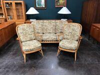 Windsor 3 Piece Suite in Beech by Ercol. Retro Vintage Mid Century