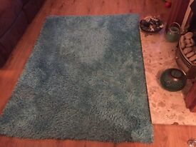 Teal rug and 2 teal canvus's