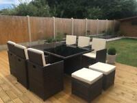 Brown Rattan Cube Table and Chairs Garden Furniture Set - Seats 10
