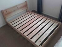 Double bed - untreated pine, rounded corners, made in the UK
