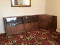 1950s G Plan E Gomme Brandon Oak Bookcases, Corner Bureau (Secretaire) & End Shelving Unit