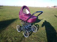 Pram 3 in 1 - very good, high wheels