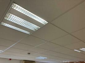 Ceiling tiles and recessed panel lights