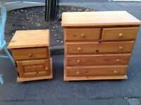 3 PLUS 2 PINE CHEST OF DRAWERS AND BEDSIDE CABINET GOOD CONDITION , 3 PLUS 2 MEASURES 32
