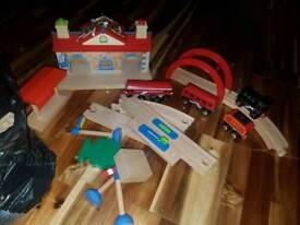 Early learning centre bag of train set pieces and figures