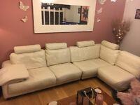 Light cream leather corner suite great con
