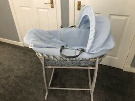 Baby blue & grey Moses basket with grey rocking stand