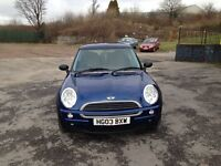 MINI ONE 1.6cc 3 door h/back 03/2003 2 former keepers 117k m.o.t until 06/04/2017 e.w c.l a.c p.a.s