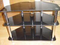 TV stand -smoked black glass -3 tier