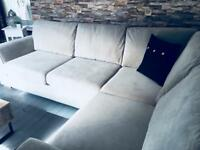 Grey fabric corner sofa / as new / can deliver