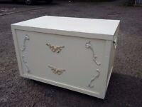 Vintage off white storage box chest trunk on castors wheels- linen laundry blanket washing toys
