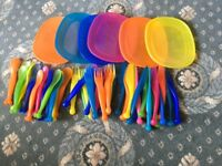 Assortment of childrens plastic cutlery from Ikea
