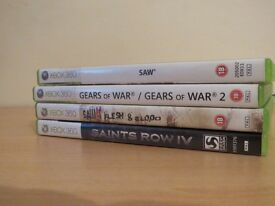 Xbox 360 Bundle - Saw - Saw 2 - Gears Of War - Gears Of Wars 2 - Saints Row 3