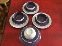 Purple & White 2 tone Dinner Set x 12 pcs