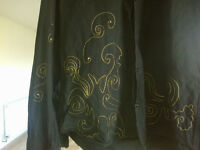 Valpiani black men's shirt with gold thread decoration, 100% cotton