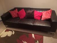 3 seater brown 2 seater cream sofa