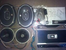 Car audio JBL, 4 speakers, amplifier, panel JVC