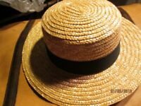 STRAW BOATER TYPE HAT GREAT FOR SCHOOL GIRL FANCY DRESS BRAND NEW