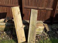 6 x wooden sleepers 1.2metre length