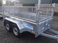 Car trailer twin axle 8x5 builders trailer sheep trailer fully road legal