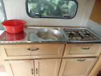 compact caravan sink and cooking 2 ring hob with grill and oven