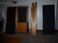 Selection of office dividers, wood effect, 9 in total, 6 with windows