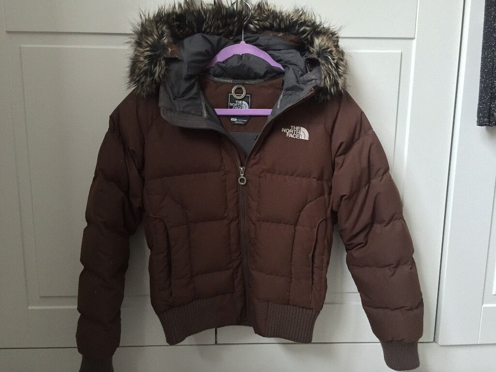 Womens North Face Brown Puffa Bomber Jacket- Small | in Wakefield