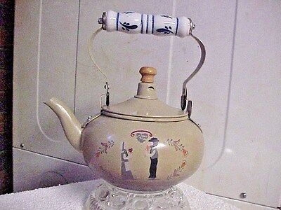 METAL TEAPOT WITH PORCELAIN HANDLE 5 CUP