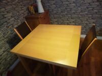Dining table which extends and 2 chairs