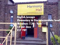 ENGLISH CLASS for adults in Walthamstow. Mondays at 7.30pm