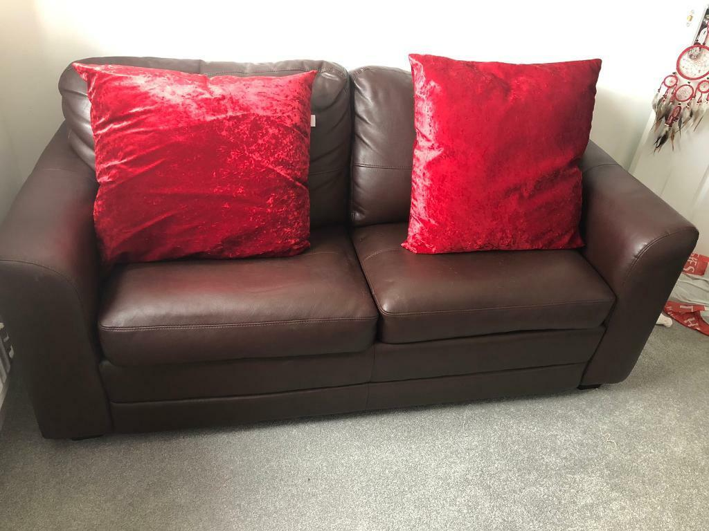 Terrific Brown Leather 2 Seater Sofa Bed In Hartlepool County Durham Gumtree Interior Design Ideas Clesiryabchikinfo