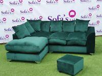 💚💙🖤Brand New Dylan Plush Velvet Fabric 3+2 / Corner Sofa / Swivel Chair / Footstool