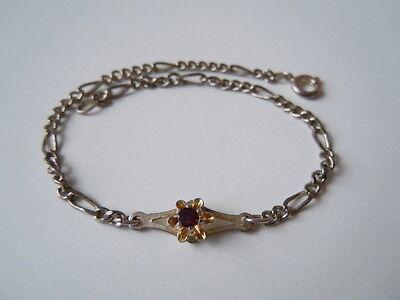 Versilbertes Armband mit einem echten Granat Metall unedel 3,4 g/21 cm