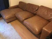 Chunky brown leather corner sofa