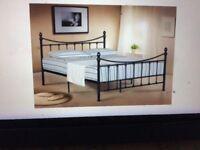 4FT BLACK VICTORIAN STYLE METAL BED FRAME - NEVER ASSEMBLED