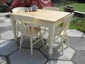 Shabby Chic Farmhouse Country Solid Pine Chunky table and 4 Chairs In Farrow & Ball Cream No 67