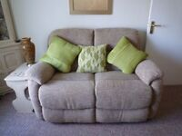 Very comfy 2 seater sofa, 1 normal armchair and 1 electric recliner immaculate cond