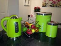 Green kettle, bread bin & biscuit tin