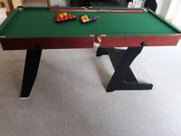 HLC 6ft 2 in 1 Folding Green Billiards Snooker/Pool Table with balls and cues etc perfect condition