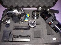 Cannon AE-1P film camera & accessories