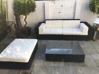 Black rattan garden lounge set