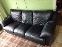 Sofas black leather 2 seater and 3 seater