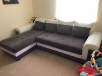 Gray and white sofa bed with storage , only 12 months old perfect condition